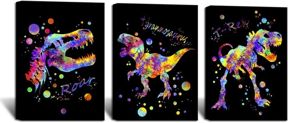 ArtBones Dinosaur Wall Art Animal Painting Kids Boys Bedroom Decor Framed 12x16inchx3Panels