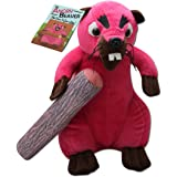 """Angry Beaver - 30cm Pink Beaver Plush - with 8"""" of Detachable Wood - Funny Gifts for Women"""