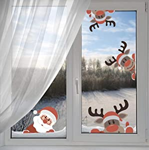 Reindeer Wall Decal with Santa Claus Wall Decal,Christmas Sticker for Kids Room Decor,Window Cling Decal,Christmas Party Decoration (10 pcs)
