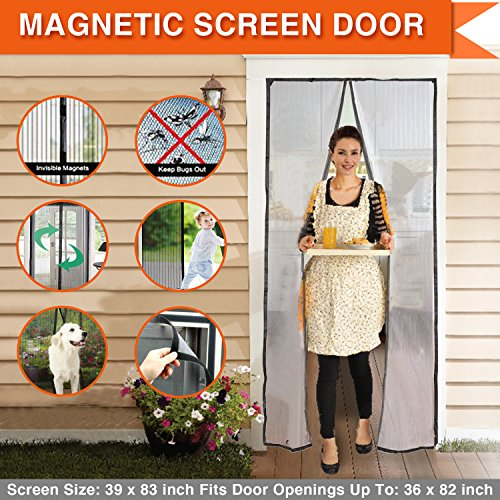 Magnetic Screen Door Magic Mesh Curtain Full Frame Velcro Walk through Hands Free Keep Bugs Out Black Door Curtain Fits Door Up To 36 times 82 inch Max