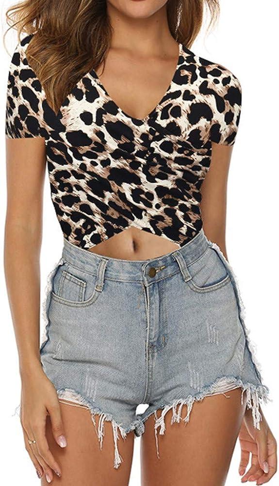 beautyjourney Camiseta con Estampado de Leopardo Blusa de Manga Corta con Cuello en V para Mujer Camisa básica Casual Crop Top Sexy Tops: Amazon.es: Ropa y accesorios