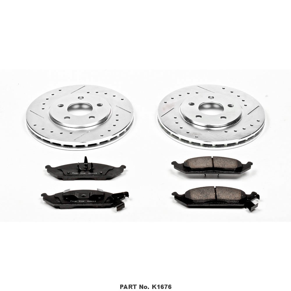 Power Stop K1676 Front Z23 Evolution Brake Kit with Drilled//Slotted Rotors and Ceramic Brake Pads