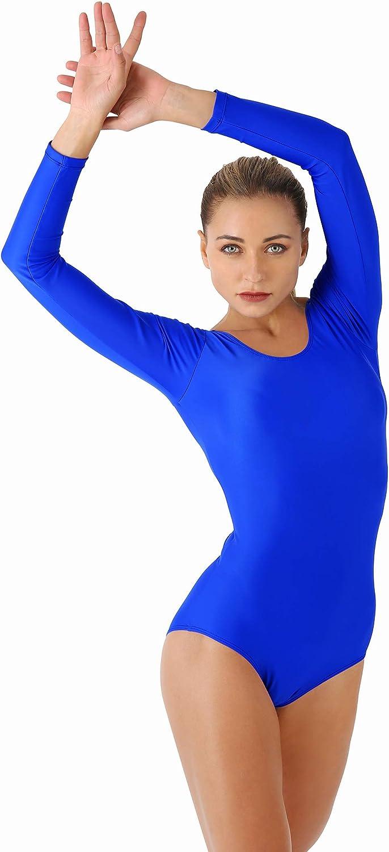Women/'s Scoop Neck Plain Leotard Top Ladies Long Sleeve Dance Party Bodysuit Top