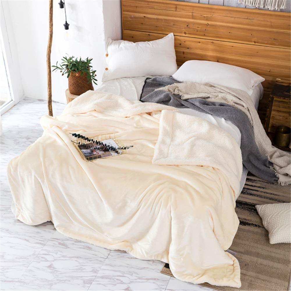 Ins net red Double Lamb Cashmere Blanket Sheets Double nap Blanket Thickening Student Dormitory Coral Fleece Blankets Velvety Delicate Skin Friendly Comfort Microfiber Pearl White 200230cm by iangbaoyo
