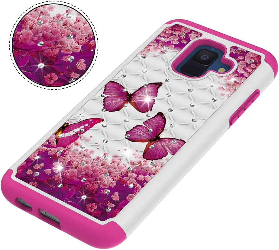 CAIYUNL for Samsung Galaxy A6 2018 Case for Women Girls Bling Glitter Studded Rhinestone Dual Layer Shockproof Protective Hard PC /&Soft TPU Phone Case Heavy Duty Cover A Blue Butterfly