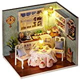 DIY Wooden DollHouse, Happy Kitchen Cabin Model Handcraft Miniature Kit with Dust Proof Cover