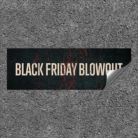CGSignLab |''Black Friday Blowout -Ghost Aged Rust'' Heavy-Duty Industrial Self-Adhesive Aluminum Wall Decal | 36''x12''