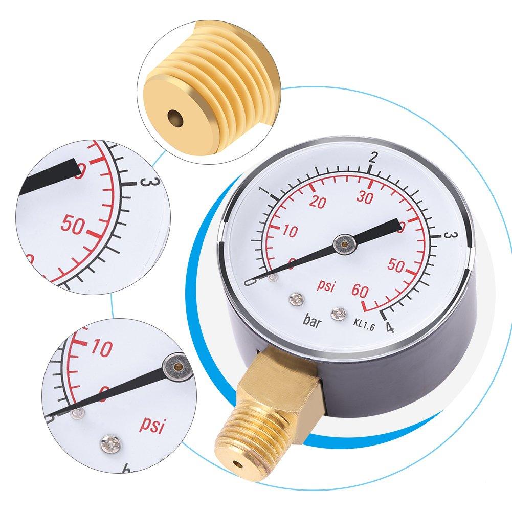 0-60psi NPT Manometer f/ür Kraftstoff Luft /Öl oder Wasser 0-4bar 1//4 \NPT unten montieren