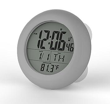 Ken-Tech Atomic LCD baño ducha reloj muestra la hora, fecha, semana y temperatura con 4 ventosas, orificio para colgar y soporte de mesa: Amazon.es: Hogar