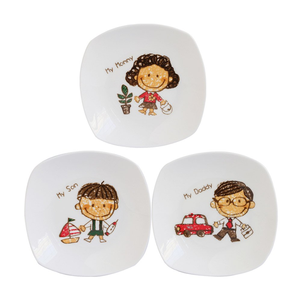 Colias Wing Funny Family Series-Cartoon Son/Daughter/Daddy/Mommy/Grandpa/Grandma Pattern Design Multipurpose Porcelain Side Dish Bowl Seasoning Dishes Soy Dipping Sauce Dishes(3 PACK/4 PACK/6 PACK)