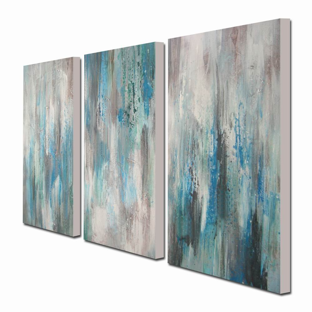 Hand-Painted Sea of Clarity 3-Piece Gallery-Wrapped Canvas Art Set