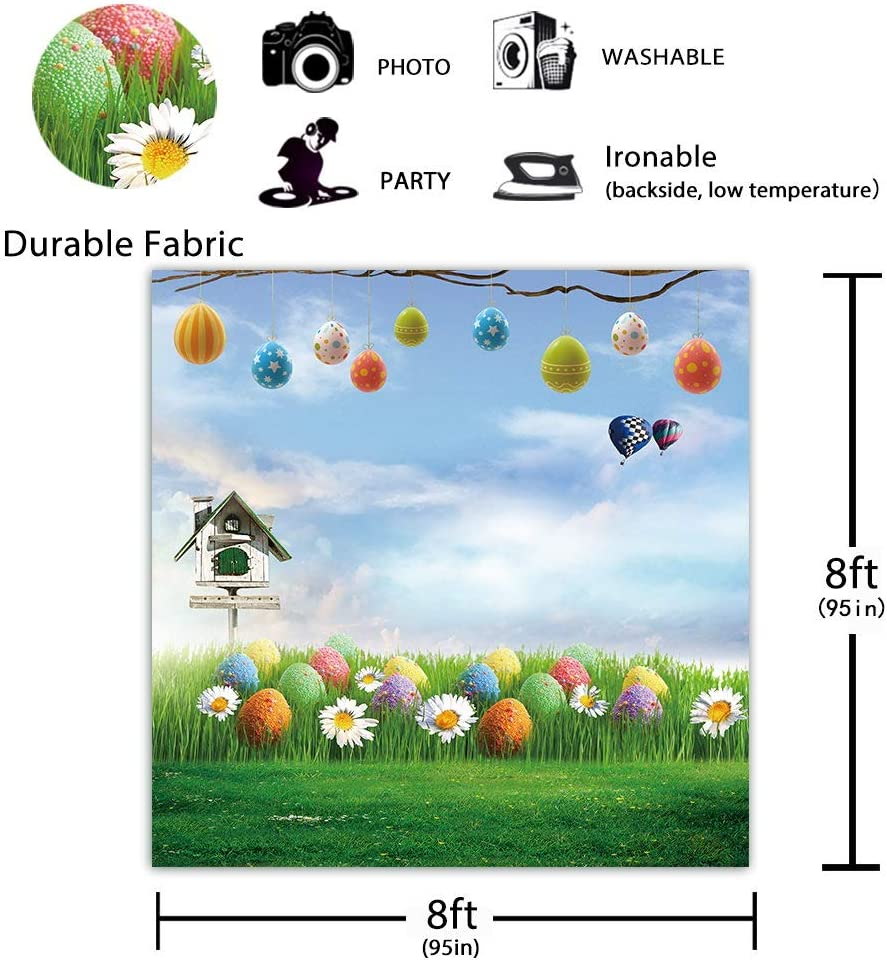 Funnytree 8x8ft Soft Fabric Spring Easter Colorful Eggs Grass Photography Backdrops Blue Sky Bird Cage Flower Background Party Supplies Pictures Photo Studio Photobooth Decorations Props Washable