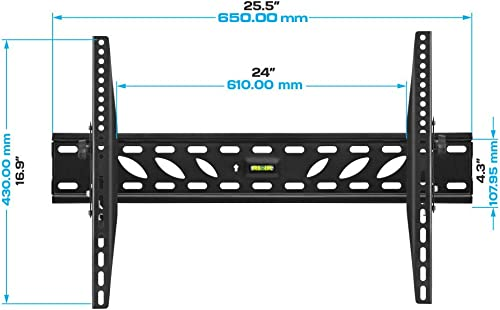 Cmple Heavy Duty Tilt TV Wall Mount Bracket for 37-70 Inches TVs,LED,LCD Flat Screens, Tilting TV Mount up to 15 degrees for anti-glaring, space saving mount with maximum VESA 600×400 and 110lbs 50kg