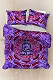 Sophia Art Meditation buddha Cotton Duvet Cover Sets With Pillow Covers By, Indian Reversible Duvet Cover Quilt Cover Coverlet Bohemian Doona Cover Handmade 80'' x82'' (Purple)