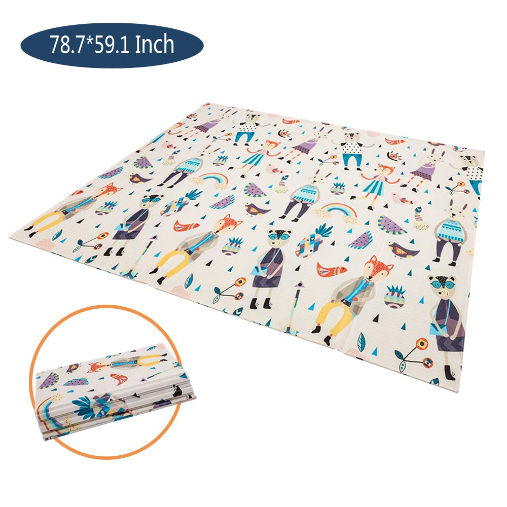 JOYMOR Baby Play Mat Crawling Foldable BPA Free Non-Toxic Playmat,Portable Extra Large Waterproof Non-Slip for Infants, Toddlers Kids Outdoor Indoor 78.7 x 59.1 in