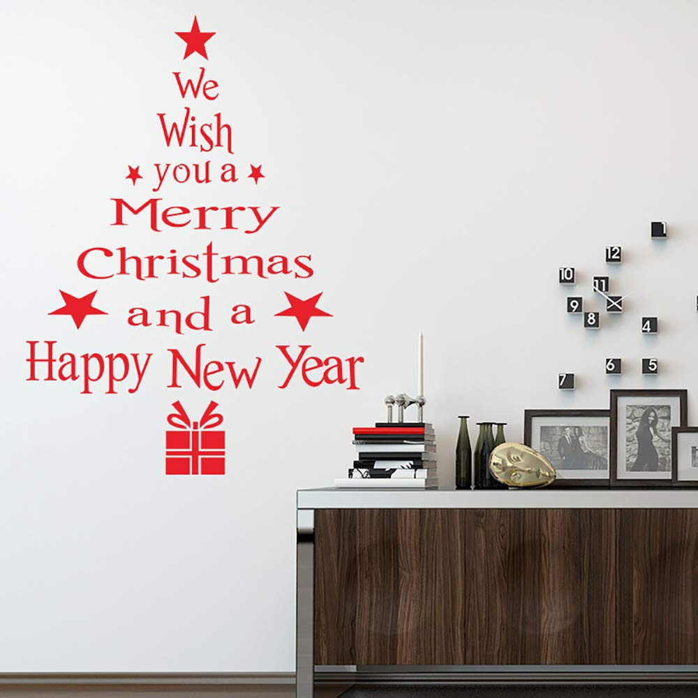 Gaddrt Merry Christmas Wall Sticker Tree Letters Stick Mural Home Room Decor Wall Art Decal