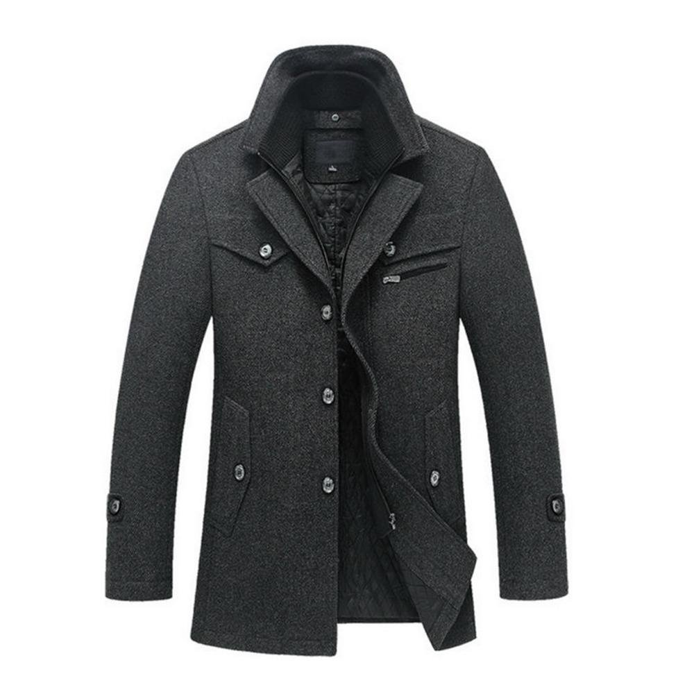 HZCX FASHION Men's Attachable Quilted Lined Wool Blend Pea Coat