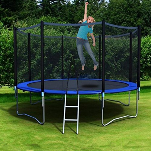 Nexttechnology 10-Feet Round Trampoline with High Safety Enclosure, UV Proof Coating Trampoline, Outer Springs, Ladder & Reinforced Safety Pad, Kids Adults Outdoor Backyard