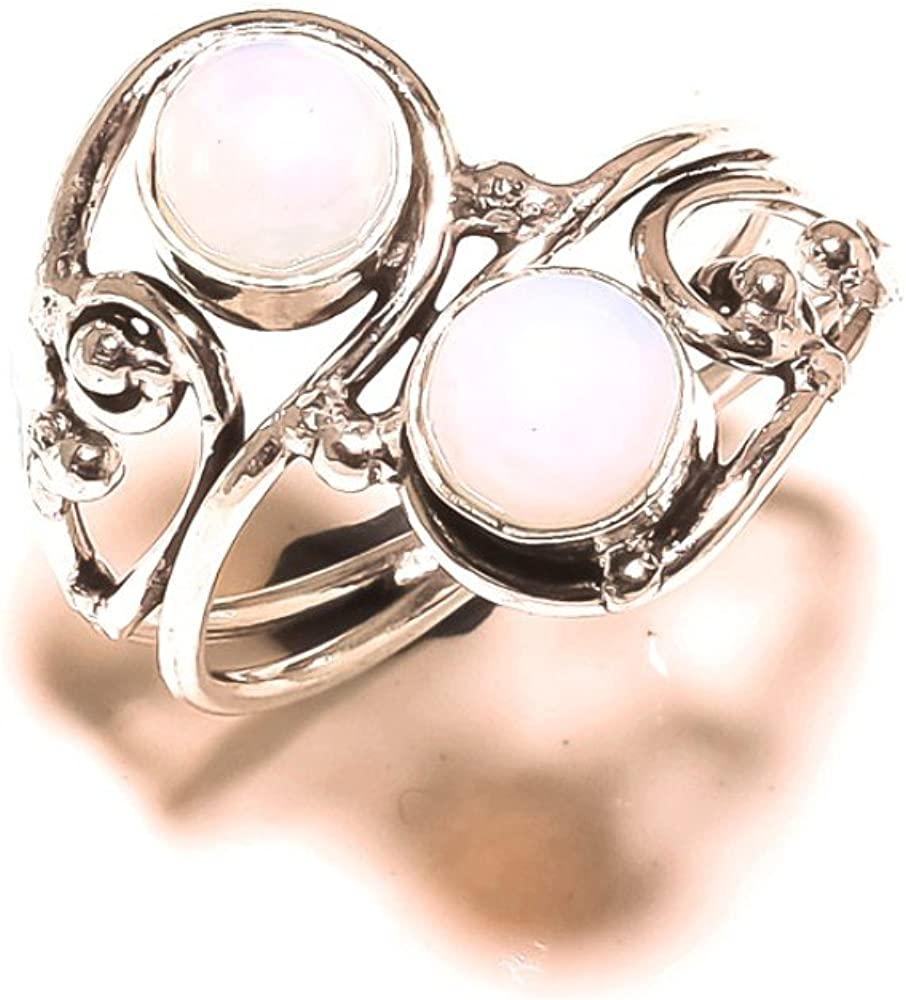Sizable Ancient Style White Opalite Handmade Jewellry 925 Sterling Silver Plated 4 Grams Ring Size 8.5 US