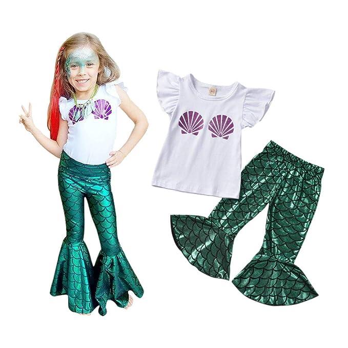 Amazon.com: Disfraz de sirena para niñas pequeñas, camiseta ...