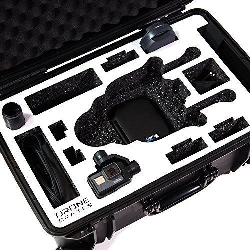 Drone Crates GoPro Karma Case - Rolling, Hardshell, Waterproof,, Made In The USA (Black Case, White Foam)