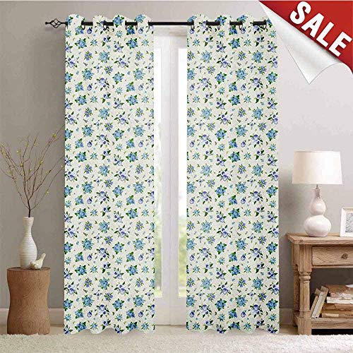 Floral, Decor Curtains by, Pansies Bluebells Plumbagos and Forget-me-not Spring Blossoms, Room Darkening Wide Curtains, W72 x L84 Inch Blue Ivory and Lavender