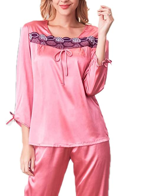 QPALZM Pijamas De Seda Mujer De Manga Larga De Cuello Bajo Simple Y Cómodo Pijama Traje