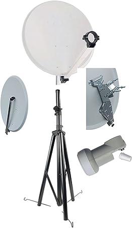 Trípode para antena parabólica satélite de Camping 65 cm Clic-Clac-cabezal LNB