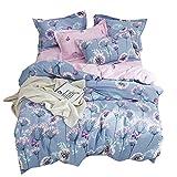 OTOB Flower Girls Twin Bedding Duvet Cover Sets Cotton for Kids Toddler Women Cartoon Butterfly Dandelion Print Floral Reversible Teen Bedding Sets Twin Fairy Princess Pink Purple