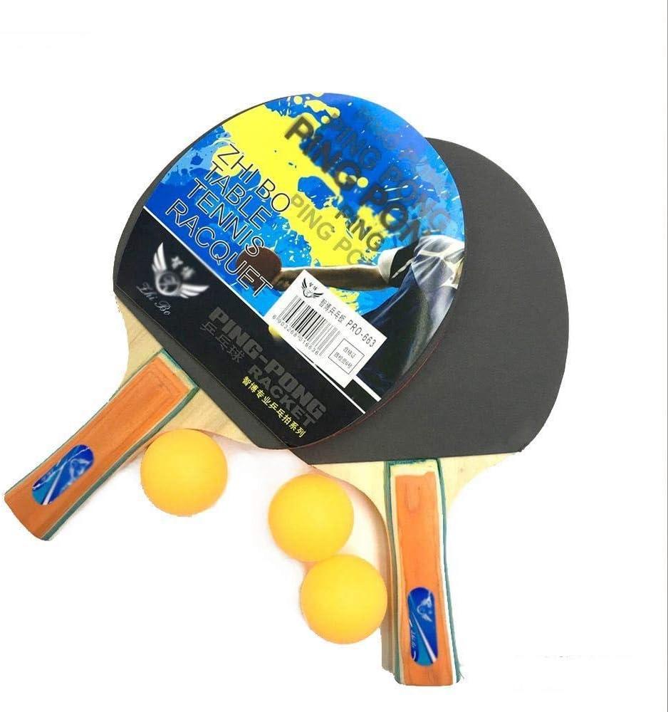 FEOPW Tabla Raqueta de Tenis Blíster con 3 Pelotas de Ping-Pong Junta Práctica Junta Raquetas Ping Pong