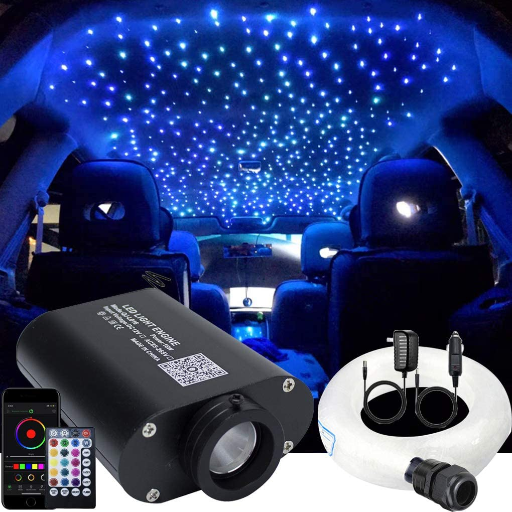 AZIMOM LED Bluetooth 16W RGBW Fiber Optic Light Star Ceiling Lighting Kits Music Mode APP Remote Control Car Home Headliner Interior Decoration 450pcs 0.03in 9.8ft