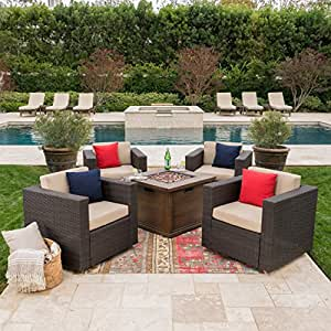 Archer Outdoor 5 Piece Dark Brown Wicker Swivel Club Chairs with Brown Gas Fire Pit