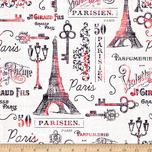 Oasis Fabrics Paris And Eiffel Tower Fabric, Ecru, Fabric By The Yard