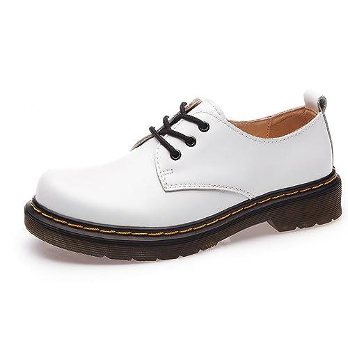 Shenn Mujer Low-Top Uniforme Vestir Confortable Oxfords Cuero Zapatos (Blanco,EU35)