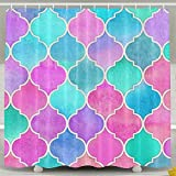 Hot Pink and Brown Shower Curtain Mermaid Colorful Fish Scale Waterproof Polyester Fabric Bath Shower Curtain Bathroom Waterproof Curtain 60