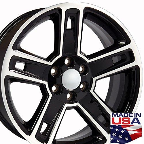 22×9 Wheel Fits GM Truck – Chevy Silverado Style Rim Black w/Mach'd Face
