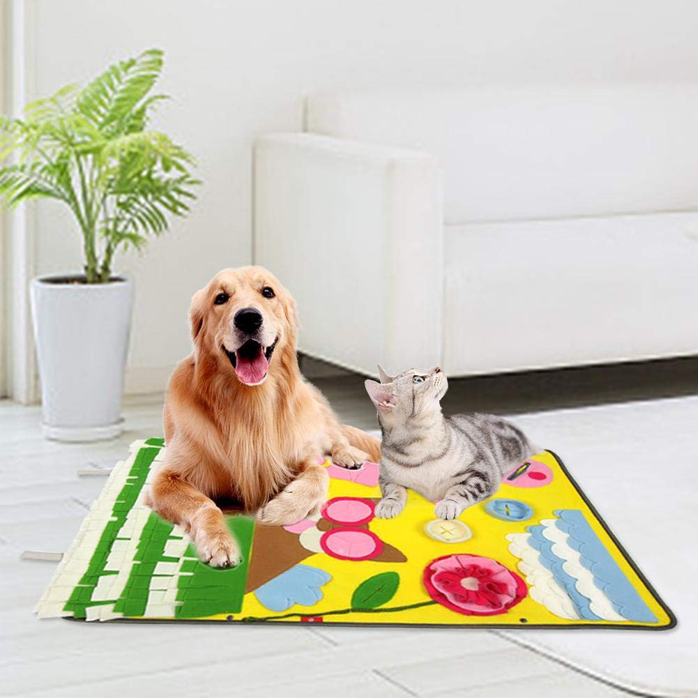 Yellow Pet Mat Dog Feeding Mat Sniffing Mat Dog Snuff Pad 9060CM Small Big Dog Training Mat
