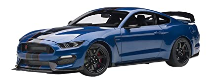 Lightning Blue Mustang >> Ford Mustang Shelby Gt 350r Lightning Blue With Black Stripes 1 18 Model Car By Autoart 72933