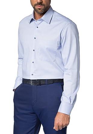 Eterna Herren Hemd Langarm Comfort Fit Natté strukturiert 8131/15/E18E Blau:  Amazon.de: Bekleidung
