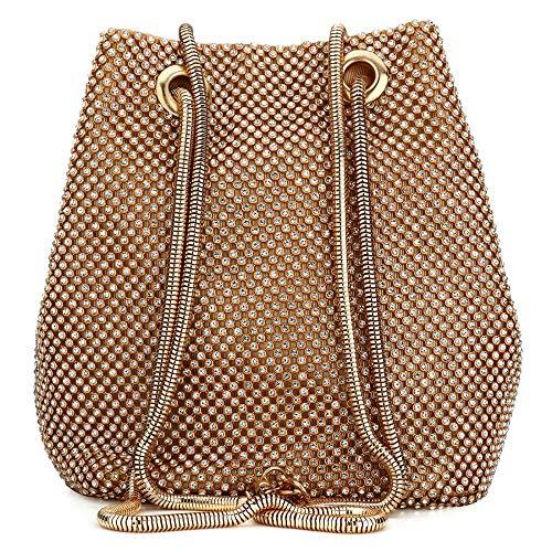 Gold Handbag Prom Wedding Designer Women Bag Evening Ladies Crystal Purse Bucket Clutch EROUGE Rhinestone for H16qCwt1x