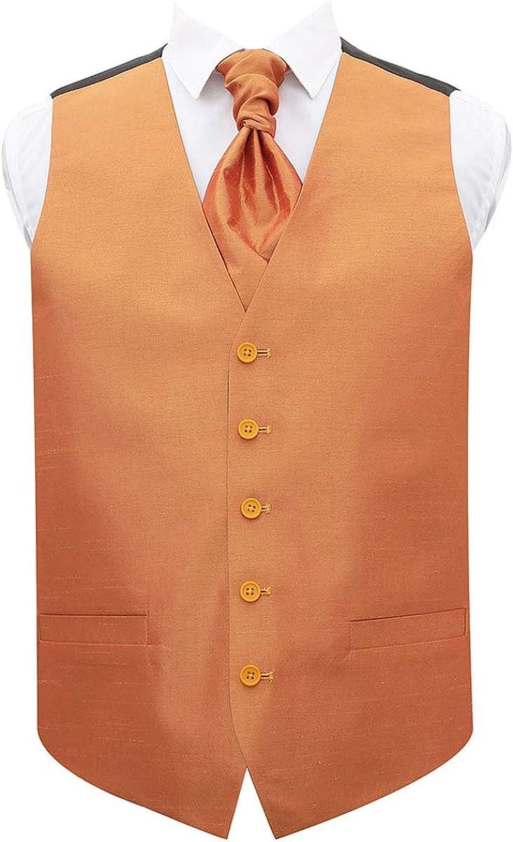 DQT Plain Shantung Wedding Waistcoat Vest /& Matching Cravat for Men in and Sizes