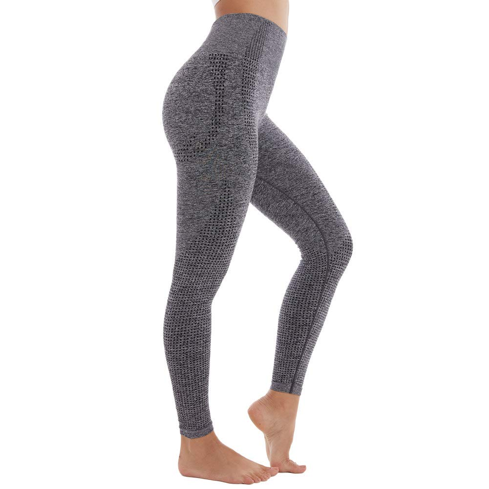 Aoxjox Women's High Waist Workout Gym Vital Seamless Leggings Yoga Pants (Charcoal Grey Marl, Small)