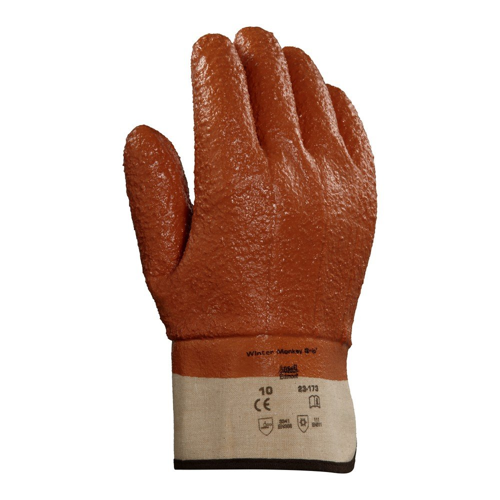 Ansell 23173 Winter Monkey Grip Vinyl-Coated, Foam-Insulated Gloves, 11'' Length, 5.5'' Width, 0.92'' Height, Size 10, Orange (Pack of 12) by Ansell (Image #2)