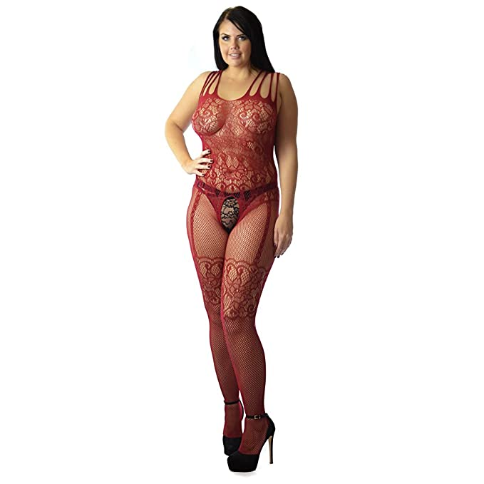 7108f428851 Quality UK 6-26 Plus+ S M L XL XXL Fishnet Tights Stockings Horsiery  Catsuit Bodystocking industrial look (77B black+ uk 14-24)  Amazon.co.uk   Clothing