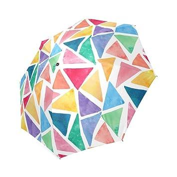Diseño de patrón de triángulos de Watercolor de colores plegable paraguas sol lluvia paraguas de viaje