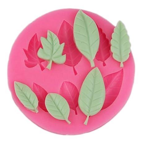 JUNGEN Molde de Fondant Forma de Hoja Molde de Silicona para Pastel Decoracion Tartas Pasteles DIY