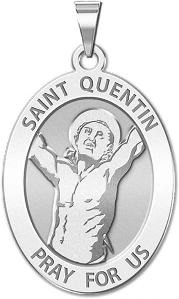 PicturesOnGold.com Saint Quentin Solid 14K White Gold Oval 1//2 X 2//3 Inch Size of Dime