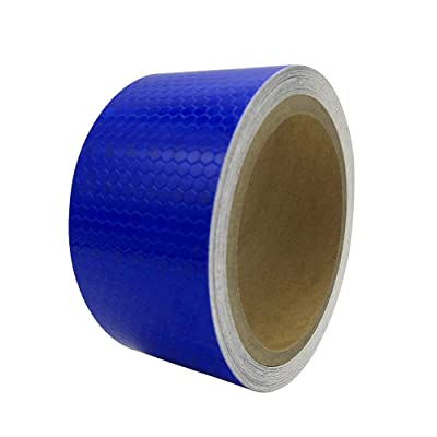"PerfecTech 2""x 16.4' Reflective Pure Color Aveolate HoneyComb Prismatic Pattern Conspicuity Hazard Safety Warning Caution Tape Film (Blue): Automotive"