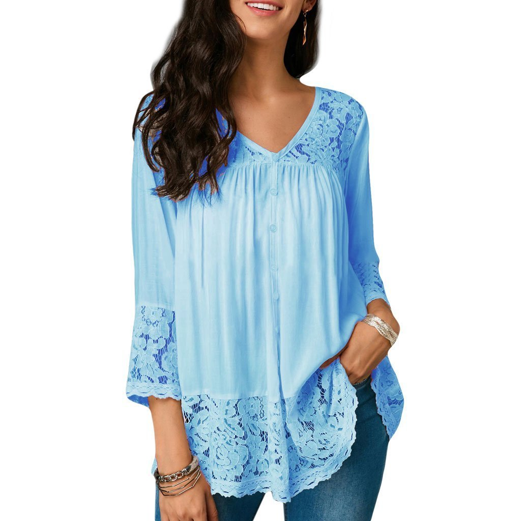 Fench Women 3/4 Sleeve V Neck Blouse Tunic Shirt Floral Lace Loose Tops Pleated Casual (XL, Light blue)