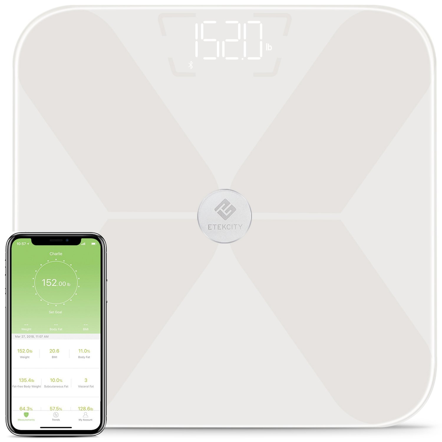 Etekcity Smart Bluetooth Body Fat Scale, Digital Wireless BMI Weight Bathroom Scale with 13 Essential Measurements and ITO Conductive Glass,FDA Approved Body Composition Analyzer with App, White